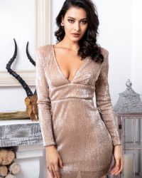 Rose Gold Deep Vneck Sequins Slim Fit Party Dress Open Back With Sleeves LE98781
