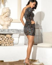 Black One Shoulder Sparkly Colorful Sequins Bodycon Mini Party Dress LE98620