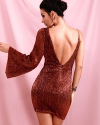Sparkly Brown Mini Bodycon Sequins Party Dress With Single Flare Sleeve LE98444