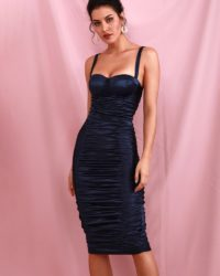 Navy Blue Sexy Bodycon Elastic Knee Length Party Dress LE98681