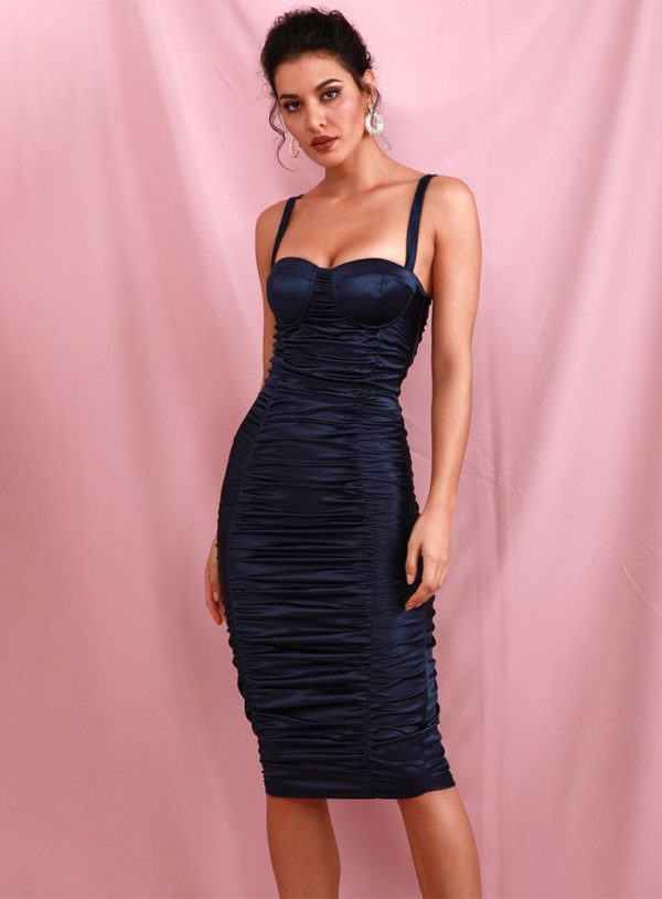 Navy Blue Sexy Bodycon Elastic Knee Length Party Dress LE98681