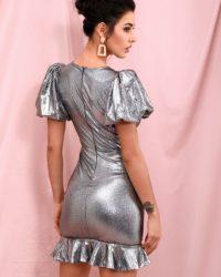Silver Deep Vneck Bodycon Bubble Short Sleeve Mini Party Dress LE98386