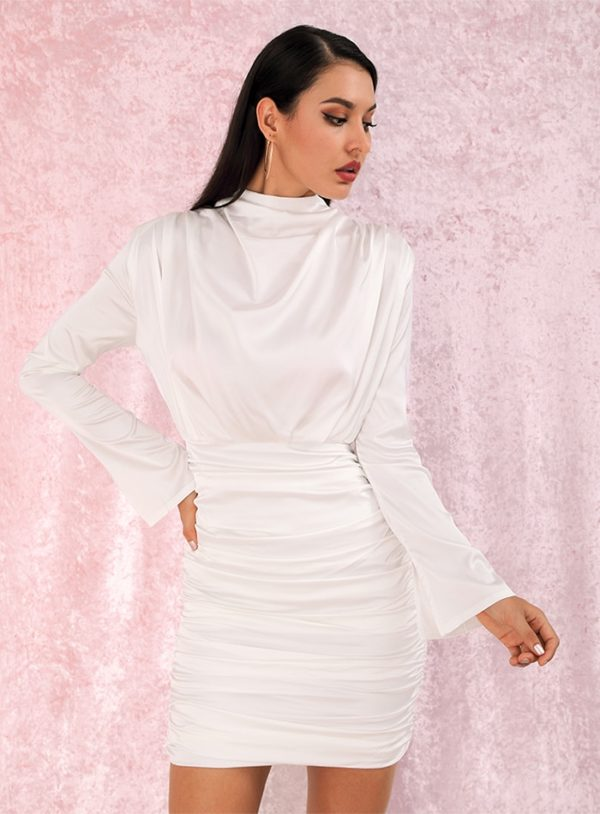 Elegant White Loose Upper Body Elastic Bodycon Party Dress With Long Sleeves LE99029