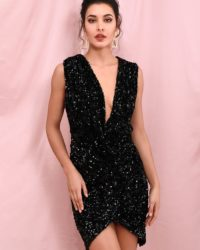 Sexy Deep Vneck Black Sequins Formal Mini Party Dress LE98278