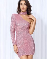 Pink Sequins Turtleneck Shoulder Mini Bodycon Dress With Single Sleeve LE99758