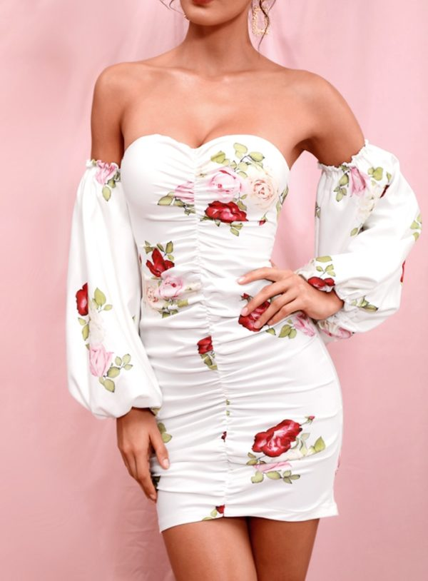 Sexy Tube Top White Floral Bodycon Mini Party Dress With Removal Sleeves LE98409