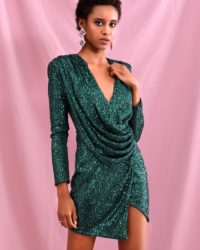 Green Sequins Bling Deep Vneck Draped Bodycon Dress With Long Sleeves LE98472
