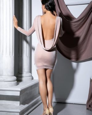 Apricot Bodycon Glitter Elastic Long Sleeve Party Dress LE99098