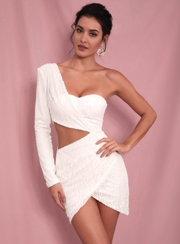 White Cut Out One Long Sleeve Sequins Beaded Bodycon Party Dress LE98565