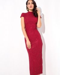 Deep Red Fitted Sheath Slim Sequins Midi Party Dress With Cap Sleeves LE99484