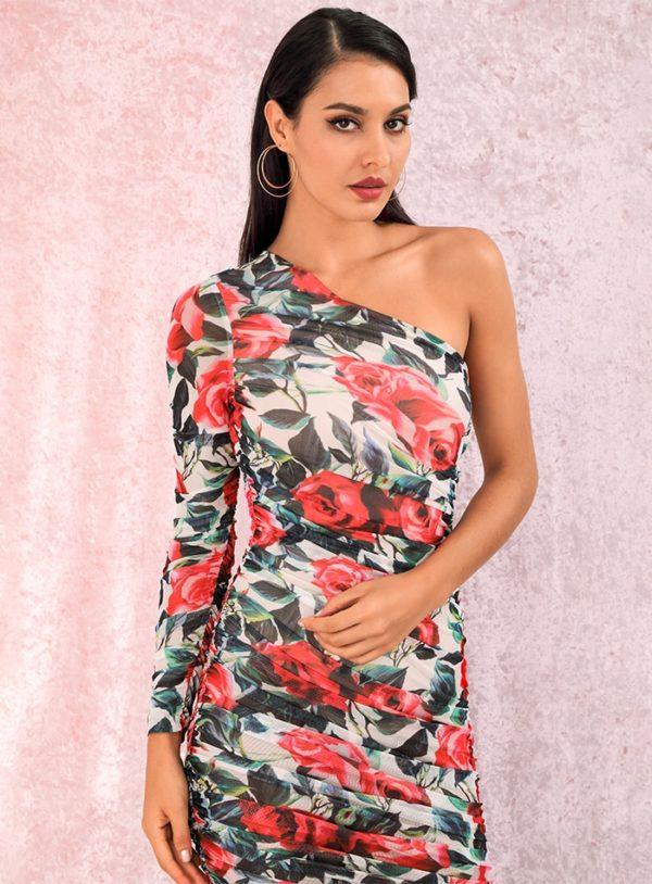 One Shoulder Flower Prints Slim Fit Pleated Knee Length Party Dress LE98723