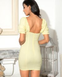 Light Yellow Bubble Short Sleeves Bodycon Mini Party Dress LE98713