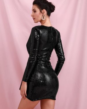Black Bling Sparkly Sequins Bodycon Party Dress With Ribbon Long Sleeves LE98592