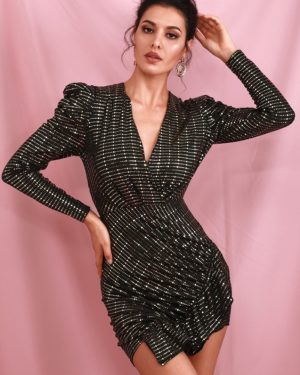 Black With Gold Bubble Long Sleeve Ruffled Sequins Slim Mini Party Dress LE98629