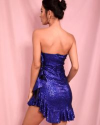 Sexy Wrapped Bling Sequins Ruffled Bodycon Mini Party Dress LE98482