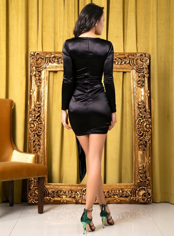 Sexy Little Black Vneck Bodycon Party Dress With Long Sleeves LE99118