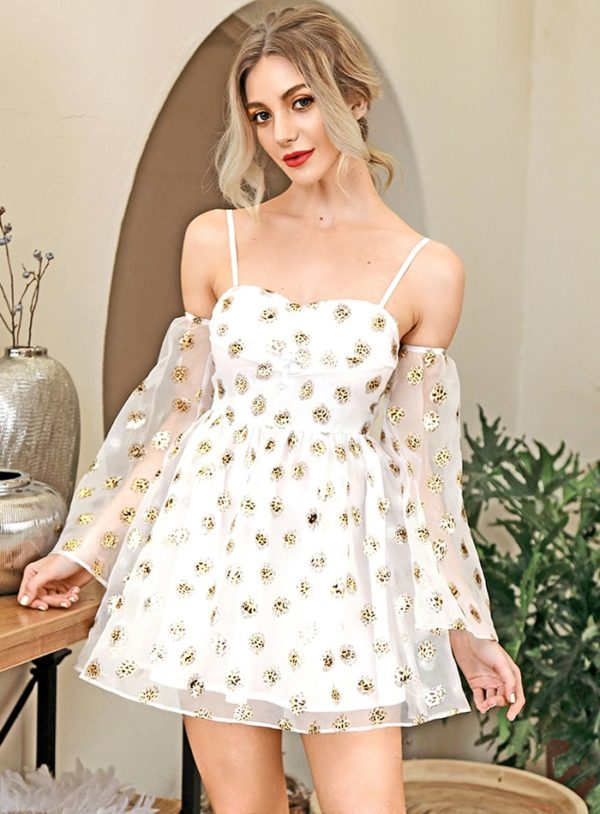 Cute White Aline Short Party Dress With Flared Long Sleeve LE98184