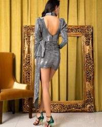Silver Glitter Bodycon High Collar Party Dress With Bubble Long Sleeves LE99209