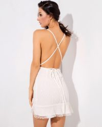 Little White Deep Vneck Open Back Mini Party Dress LE99476