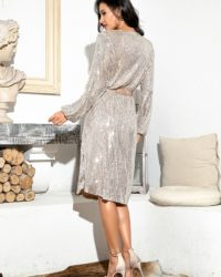 Silver Bling Sequins Knee Length Long Sleeve Party Dress With Sash LE98720