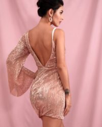 Rose Gold Deep Vneck Single Flare Sleeve Bodycon Sequin Party Dress LE98445