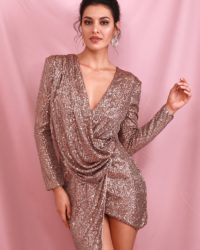 Draped Sequins Brown Vneck Mini Party Dress With Long Sleeves LE98660