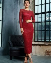 Formal Open Back Burgundy Sequins Fitted Mid-calf Party Dress LE99335