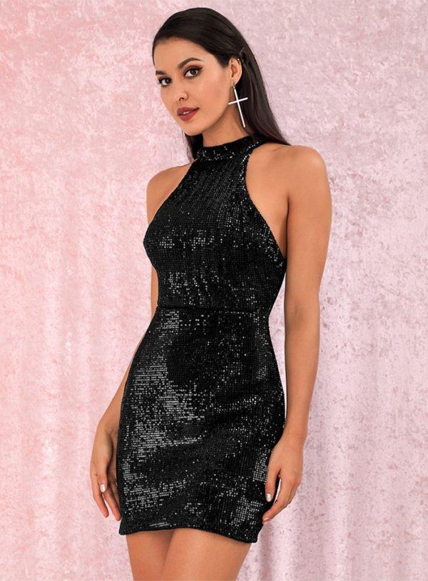 Mini Black Bling Sequins Halter Bodycon Party Dress LE98828