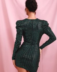 Green Bubble Long Sleeve Ruffled Sequins Mini Party Dress LE98627